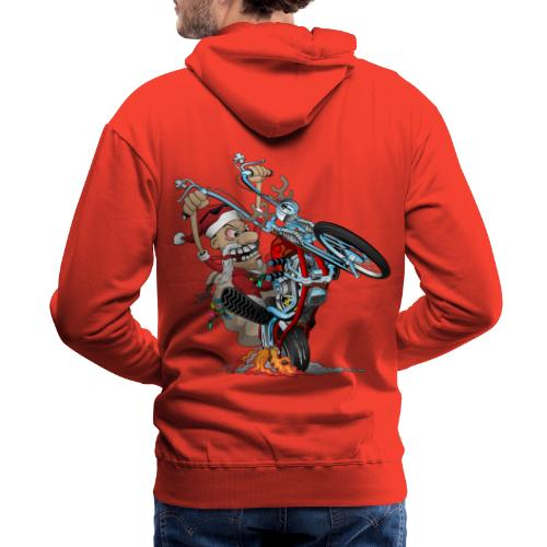 Biker Santa on a chopper cartoon illustration - Men's Premium Hoodie