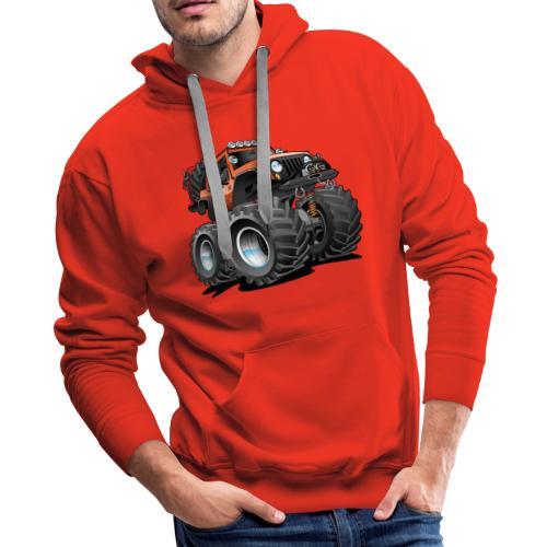 Off road 4x4 orange jeeper cartoon - Men's Premium Hoodie