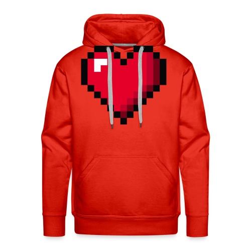Pixel 8 bit Happy Valentine s Day Heart for Gamers - Men's Premium Hoodie