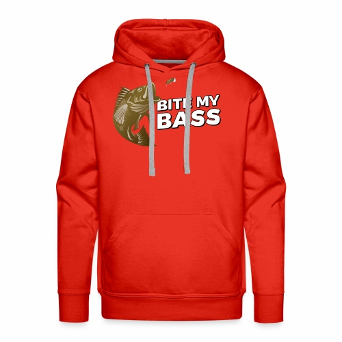 Bass Chasing a Lure with saying Bite My Bass - Men's Premium Hoodie