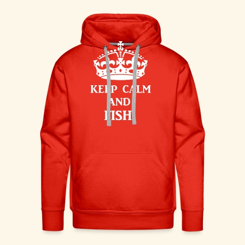 keep calm fish wht - Men's Premium Hoodie