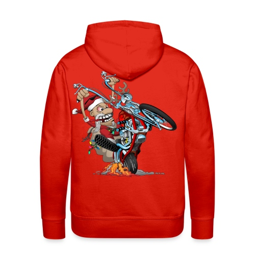 Biker Santa on a chopper cartoon illustration - Men's Premium Hoodie