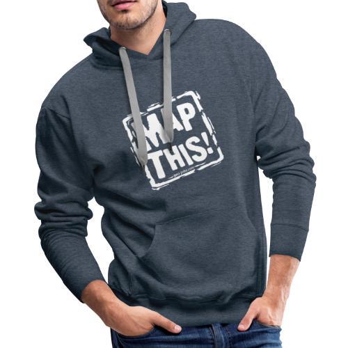 MapThis! White Stamp Logo - Men's Premium Hoodie