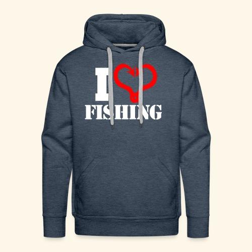 I heart fishing WHITE - Men's Premium Hoodie
