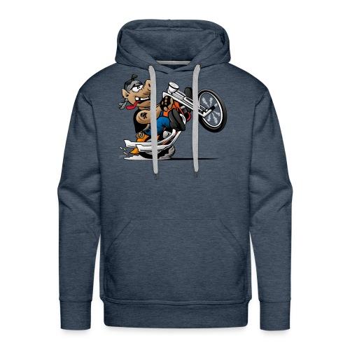 Biker Hog Motorcycle Cartoon - Men's Premium Hoodie