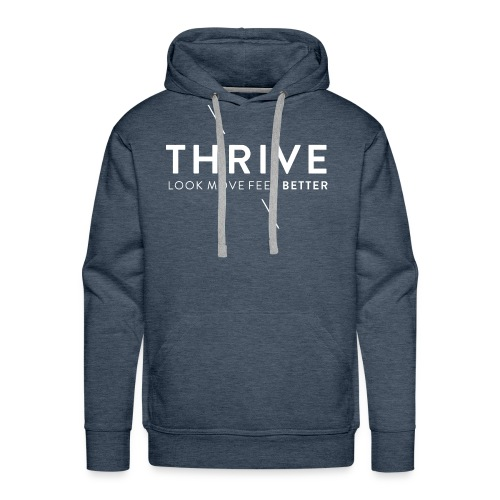 Thrive Logo with Tagline and Line White - Men's Premium Hoodie