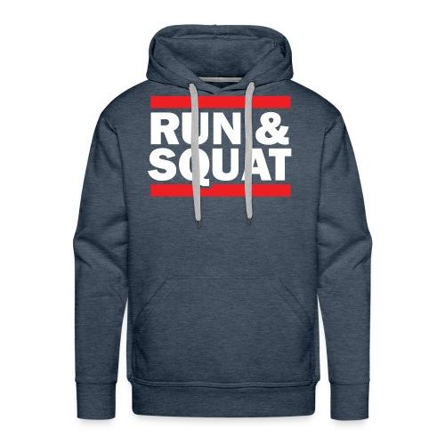 Run Squat White on Dark by Epic Greetings - Men's Premium Hoodie