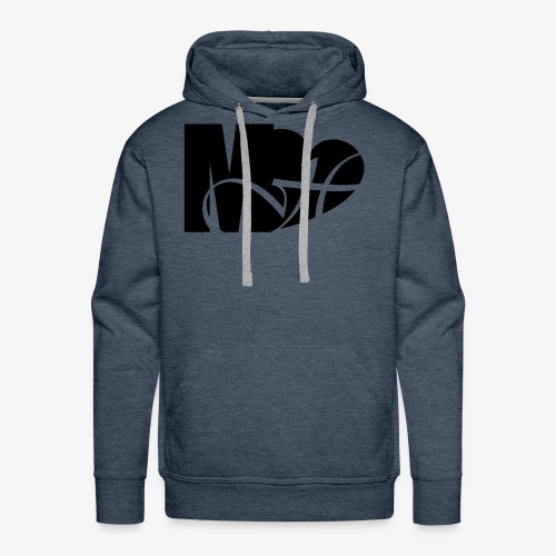 Mo Heart Solid White - Men's Premium Hoodie