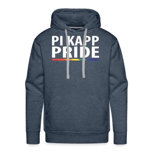 PKPride Stacked Design w Rainbow Stripe White Tex - Men's Premium Hoodie