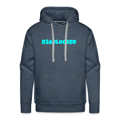 D3ADLocked Blue Text (Cyan Blue) Shirts And Hood - Men's Premium Hoodie