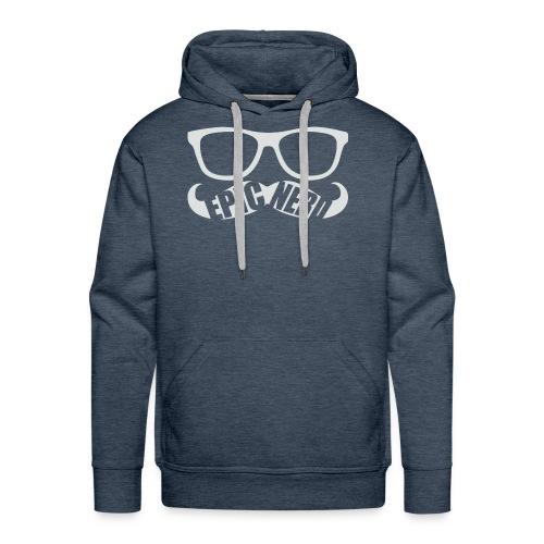 White Epic Nerd Logo - Men's Premium Hoodie
