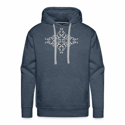 damask ornament no. 01 - white marble texture - Men's Premium Hoodie