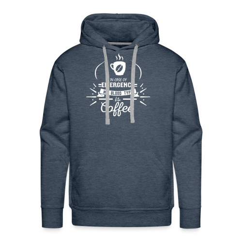 Coffee Blood Type | White Letters - Men's Premium Hoodie