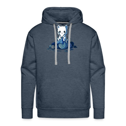 cat love knitting tshirt - Men's Premium Hoodie