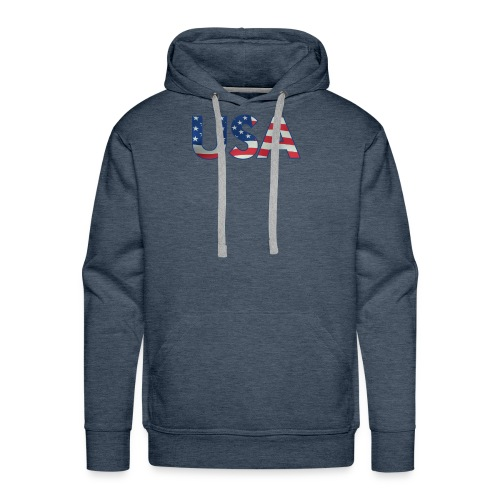 USA Flag T-shirt 4th July Fourth Red White Blue - Men's Premium Hoodie