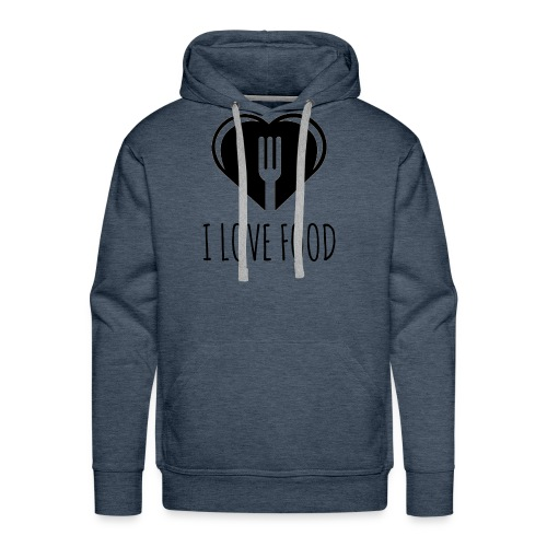 Funny Food Quote I Love To Eat - Heart, Fork Diet - Men's Premium Hoodie