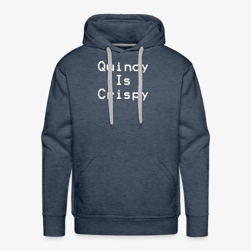 QuincyIsCrispy Text Logo (White) - Men's Premium Hoodie