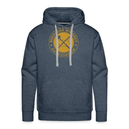 NE Whiskey assoc final badge gold distressed - Men's Premium Hoodie