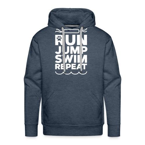 Run Jump Swim Repeat - white imprint - Men's Premium Hoodie