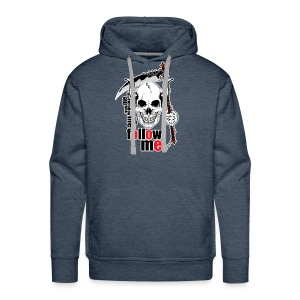 Follow me - Funny Skull with Scythe and Chain - Men's Premium Hoodie