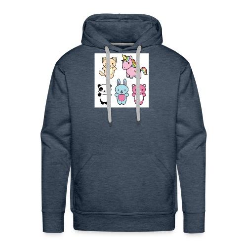 set collection cute kawaii style happy smiling - Men's Premium Hoodie
