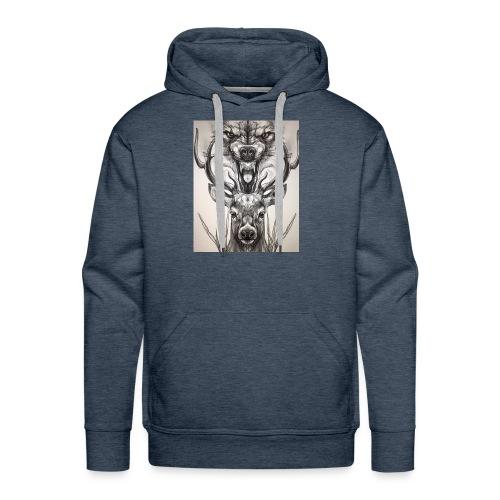 Black Ink Deer And Wolf Head - Men's Premium Hoodie