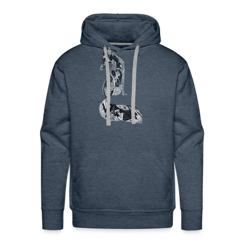 fox distressed inverted design - Men's Premium Hoodie