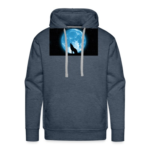 488234 wolf howling at the moon wallpaper 2560x144 - Men's Premium Hoodie