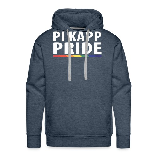 PKPride Stacked Design w Rainbow Stripe White Tex - Men's Premium Hoodie