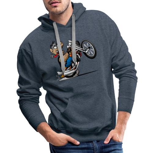 Biker Hog Motorcycle Cartoon - Men's Premium Hoodie