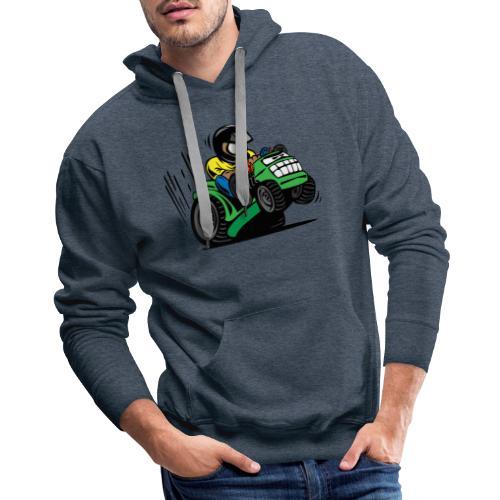 Racing Lawn Mower Cartoon - Men's Premium Hoodie