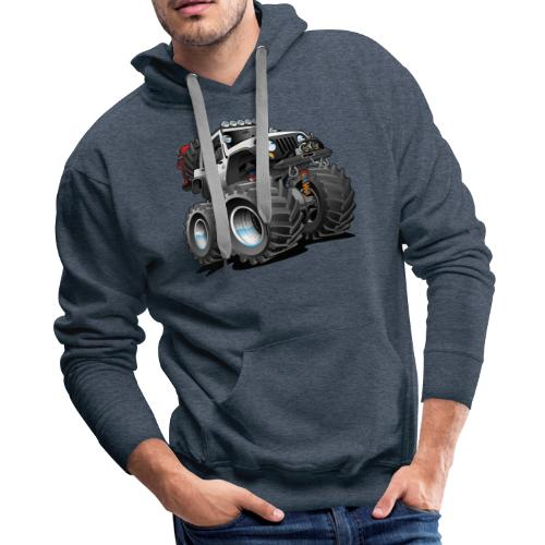 Off road 4x4 white jeeper cartoon - Men's Premium Hoodie