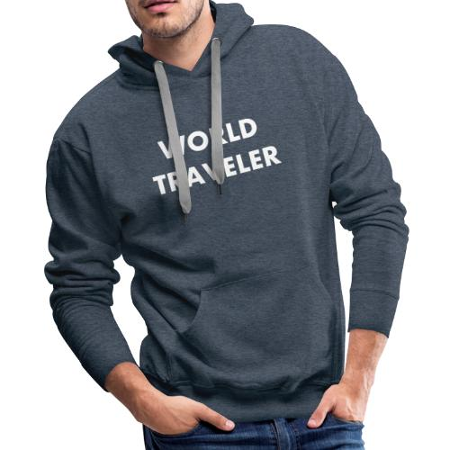 World Traveler White Letters - Men's Premium Hoodie