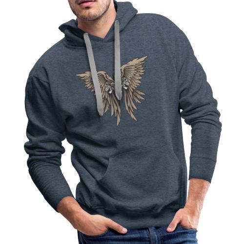 Skulls and Wings Illustration - Men's Premium Hoodie
