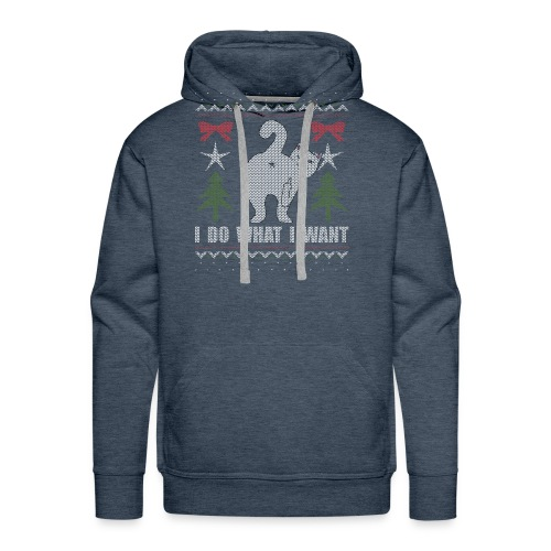 Ugly Christmas Sweater I Do What I Want Cat - Men's Premium Hoodie