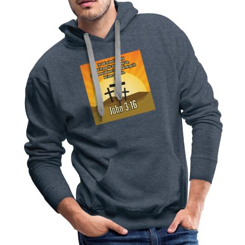 John 3:16 - the most widely quoted Bible verses? - Men's Premium Hoodie