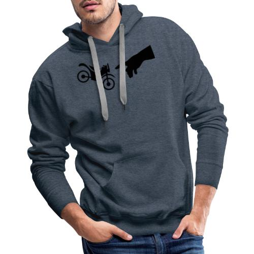 The hand of god brakes a motorcycle as an allegory - Men's Premium Hoodie