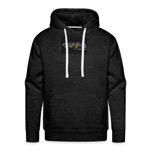 No One Fights Alone Multi Colored Ribbon Ladies Pe - Men's Premium Hoodie