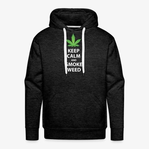 keep calm smoke weed white text - Men's Premium Hoodie