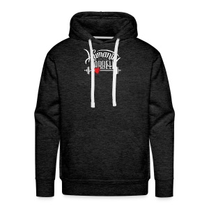 Humanity Barbell White w/Red Heart - Men's Premium Hoodie