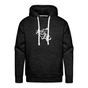 Lost in Life White on Dark logo small - Men's Premium Hoodie