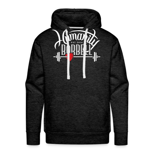 Humanity Barbell White w/Red Heart - Men's Premium Hoodie