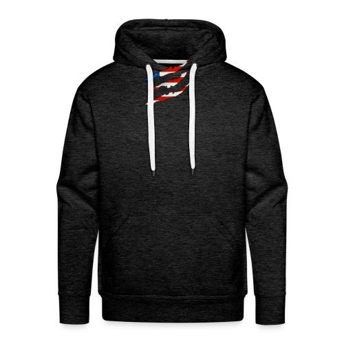 3D American Flag Claw Marks T-shirt for Men - Men's Premium Hoodie