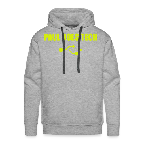 Paul Does Tech Yellow Logo With USB (MERCH) - Men's Premium Hoodie