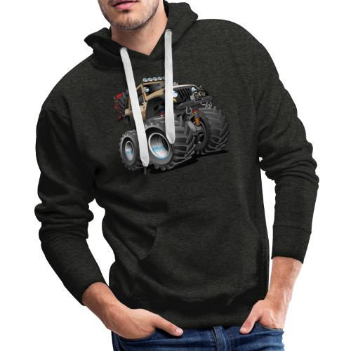 Off road 4x4 desert tan jeeper cartoon - Men's Premium Hoodie