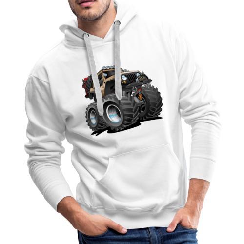 Off road 4x4 desert tan jeeper cartoon - Men's Premium Hoodie