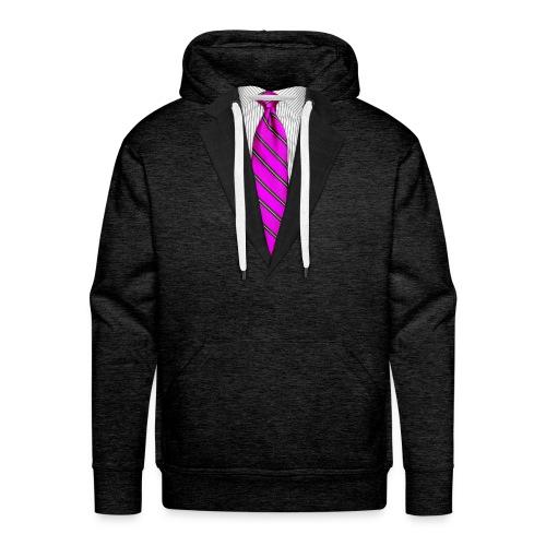 Pink Suit Up! Realistic Suit & Tie Casual Graphic - Men's Premium Hoodie
