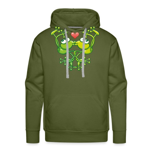 Frogs in love in choreography of jumps and kisses - Men's Premium Hoodie