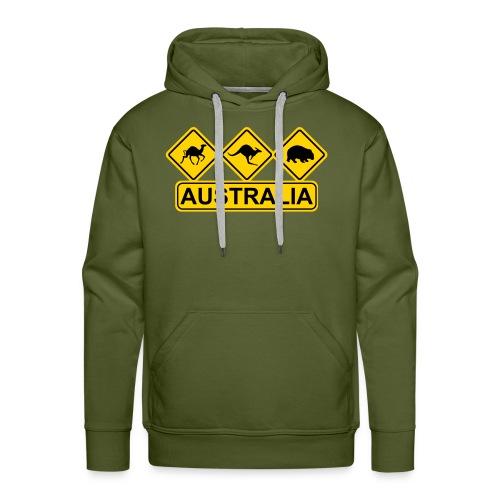 Australian 3 Animal Street Sign - Men's Premium Hoodie