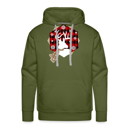 reindeer on plaid - Men's Premium Hoodie